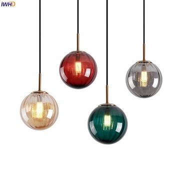 IWHD Nordic Style Little Glass Ball Pendant Lights Fixtures Bedroom Living Room Light Modern LED Lamp Hanglamp Luminaire