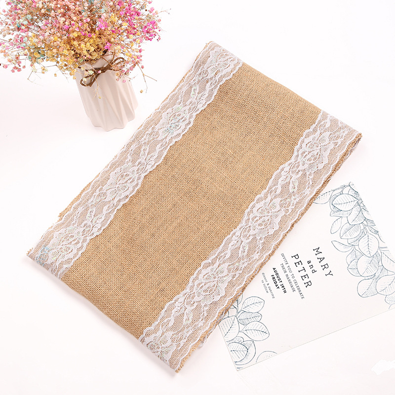 1pc Vintage Natural Burlap Jute Linen Table Runner Christmas Wedding Champagne Table Dining Room Restaurant Table Gadget