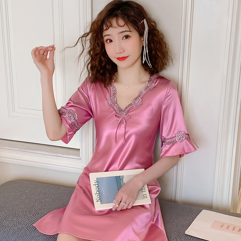 18 Style Summer Women's Short Sleeve Sleepwear Home Wear V- Neck Silk Nightshirt Women Causal Sleepwear Sexy Ladies Nightgown