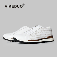 Vikeduo 2020 Summer New Engraved Handmade Men's Designer Shoes Fashion People Genuine Leather White Sneakers