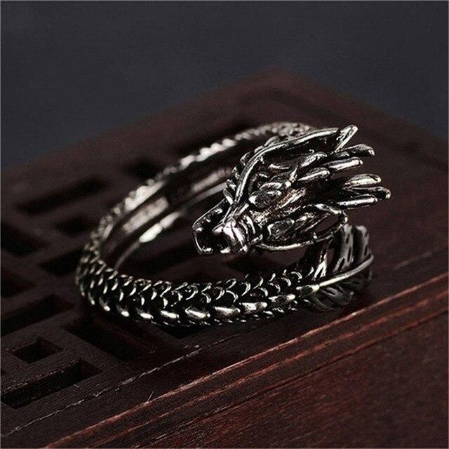 1 Pcs Cool Opening Rings Unisex Ring Men Women Jewelry Adjustable Sterling Dragon Ring Good Gifts Alloy  Animal  Metal  Unisex 2