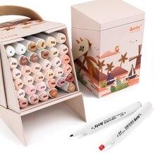 Arrtx tom de pele 36 cores álcool marcador caneta conjunto, pontas duplas marcadores perfeito para figura pintura retrato design coloração