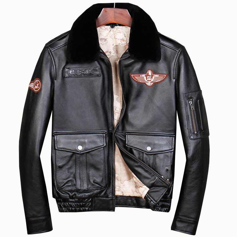 Free Shipping.Brand G2 Mens Cotton Cowhide Jackets,men's Genuine Leather Jacket.classic Bomber Flight Pilot Plus Size Coat.