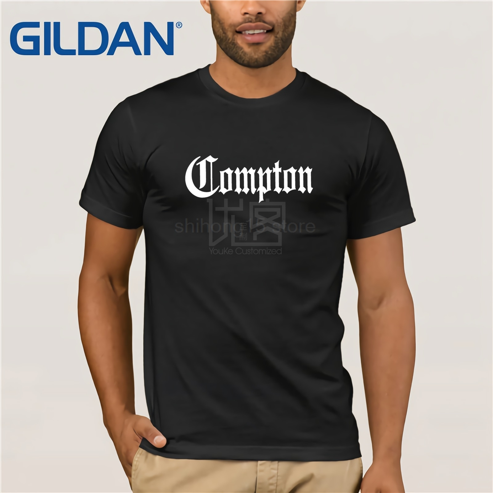 Compton California GOTHIC <font><b>Eazy</b></font> <font><b>E</b></font> NWA Dr. Dre Straight Outta COMPTON Cool <font><b>T</b></font>-<font><b>Shirt</b></font> Fashion <font><b>T</b></font> <font><b>Shirts</b></font> Slim Fit O-Neck Top Tee image