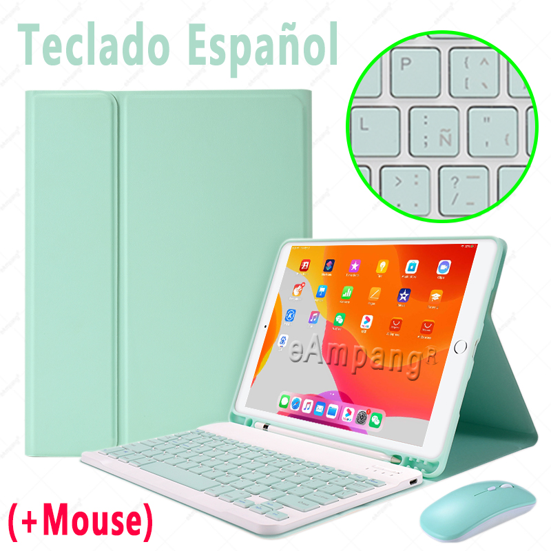 Spanish with Mouse Khaki Keyboard Case With Wireless Mouse For iPad Air 4 10 9 2020 4th Generation A2324 A2072