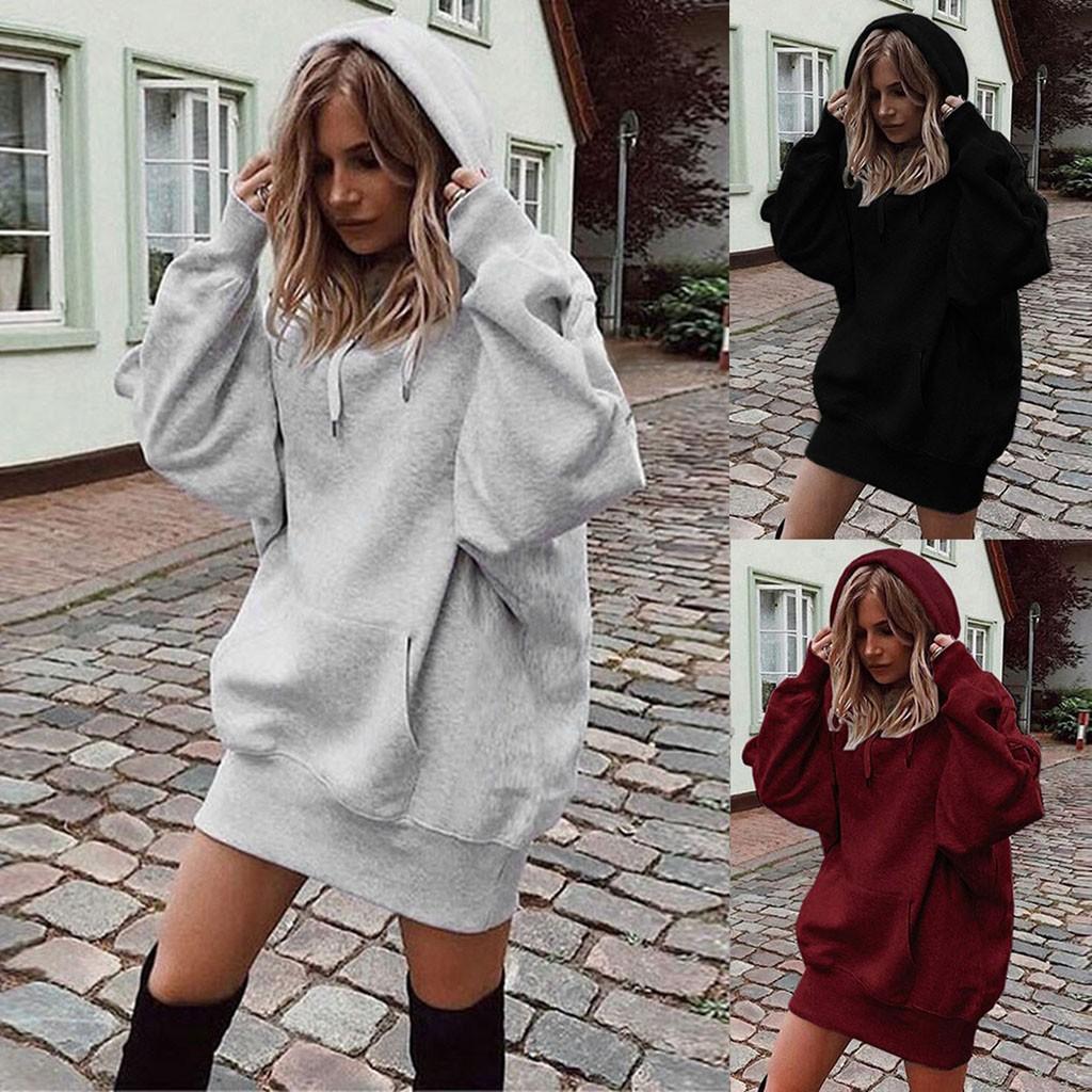 40# Women Fashion Solid Color Clothes Hoodies Dresses Pullover Coat Hoody Sweatshirt Dress Winter Clothes Women Mini Dresses
