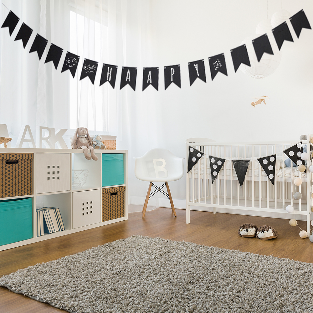Black Birthday Party Graduation Wall Banner Event Supplies Beautiful Swallowtail Party Bunting Flag Surprise Wall Decoration