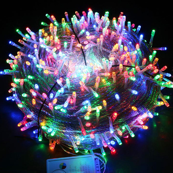 Xmas Outdoor Christmas Lights Led String Lights 20/30/50/100M Luces Decoracion Fairy Light Holiday Lights Lighting Tree Garland string light g40 25ft clear balls bulb 25pcs party outdoor holiday fairy lights lumineuse luces decoracion