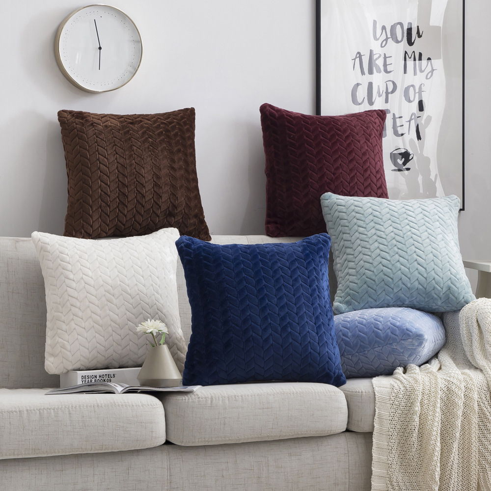 Cushion Cover Chenille Assorted Colours Home Decoration Sofa Bed 45x45cm