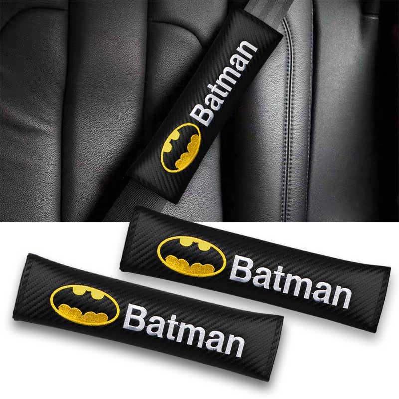 Embroidery for Batman Emblem Car Carbon Fiber seat Belt Cover Shoulder pad for Mercedes Volkswagen BMW Renault Ford Accessories