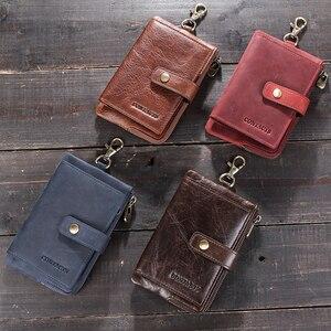 Image 5 - CONTACTS portafogli chiave da uomo in vera pelle portachiavi per auto da uomo custodia governante piccola portamonete cerniera Hasp Design portachiavi