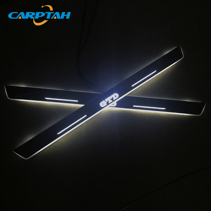 CARPTAH Trim Pedal Car Exterior Parts LED Door Sill Scuff Plate Pathway Dynamic Streamer light For Volkswagen Golf 7 GTD 2014-16