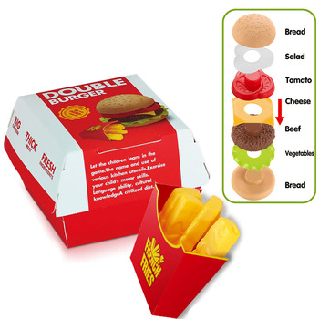 Dzieci udawaj zabawki zestaw zabawek kuchennych Fast Food Hamburger frytki miniaturowe przekąski Burger edukacyjne zabawki dla dziecka tanie i dobre opinie 7-12m 13-24m 25-36m 4-6y Z tworzywa sztucznego CN (pochodzenie) Montaż Keep away from fire! Unisex Jedzenie 1 24 Kitchen toy