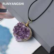 Natural love Shape Amethyst cluster purple quartz Heart Pendant healing stone Exquisite jewelry necklace for woman gifts