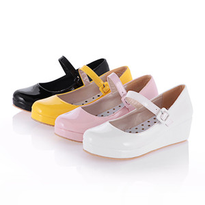 Image 2 - Anime cosplay sweet lolita shoes round head muffin heel shallow mouth women shoes bowknot kawaii shoes loli cos