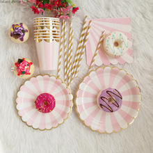 69pcs Disposable tableware set disposable paper plate straw cup gold Pink stripe for wedding birthday decoration party supplies