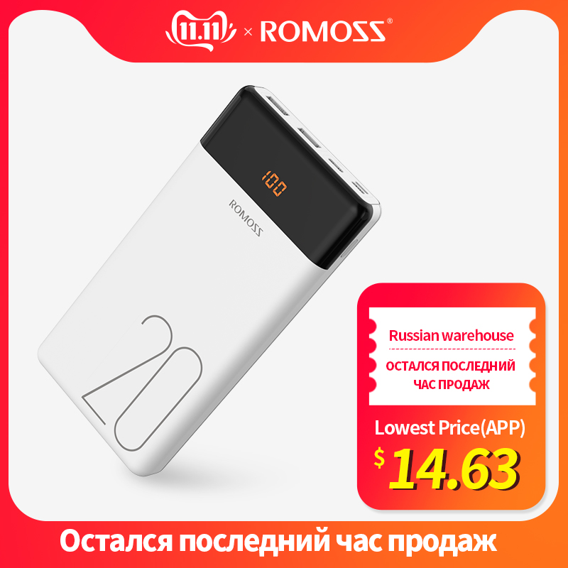 20000mAh ROMOSS LT20 Power Bank Dual USB Powerbank External Battery With LED Display Fast Portable Charger For Phones Xiaomi