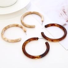 Big Brown Acrylic Hoop Earrings for Women 2020 Fashion Bohemia ZA Acetate Resin Circle Statement Hoops Earrings Female Jewelry