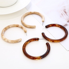 Big Brown Acrylic Hoop Earrings for Women 2020 Fashion Bohemia ZA Acetate Resin Circle Statement Hoops Earrings Female Jewelry