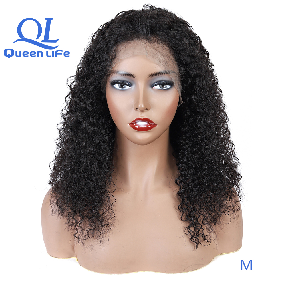 Queenlife 13x6 Remy human hair lace front wigs kinky Curly Lace Front wigs black women pre plucked bleached knots wigs