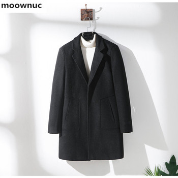 2019 Autumn winter invisible button Classic coat Men's fashion Casual Trench Coat Male High quality wool overcoat men Jackets