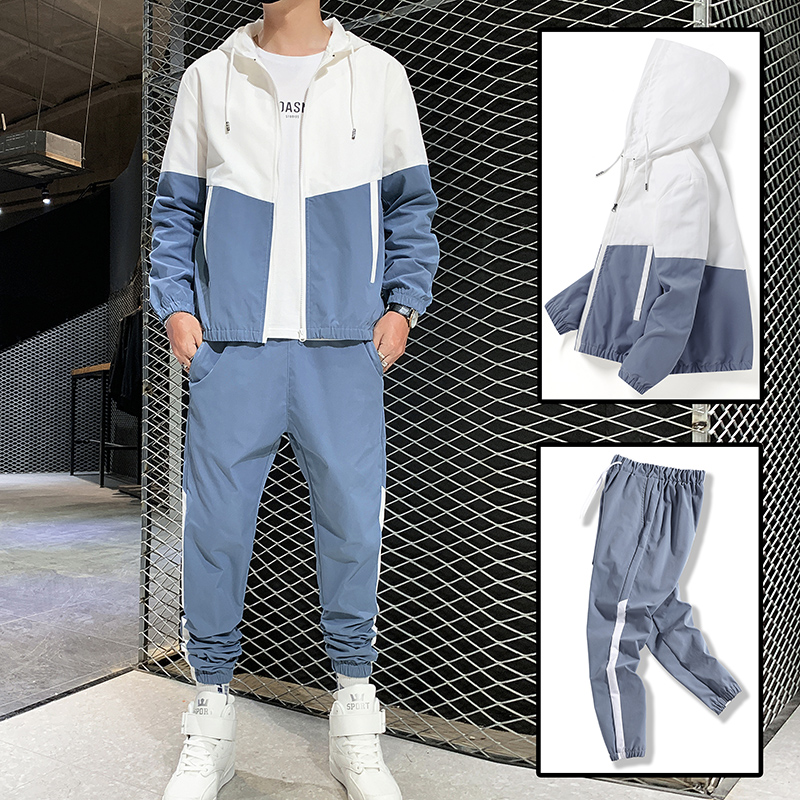 Костюм спортивный мужской в стиле хип-хоп, комплект одежды для спорта с карманами на молнии, уличная одежда из 2 предметов, пиджак и штаны, 2021