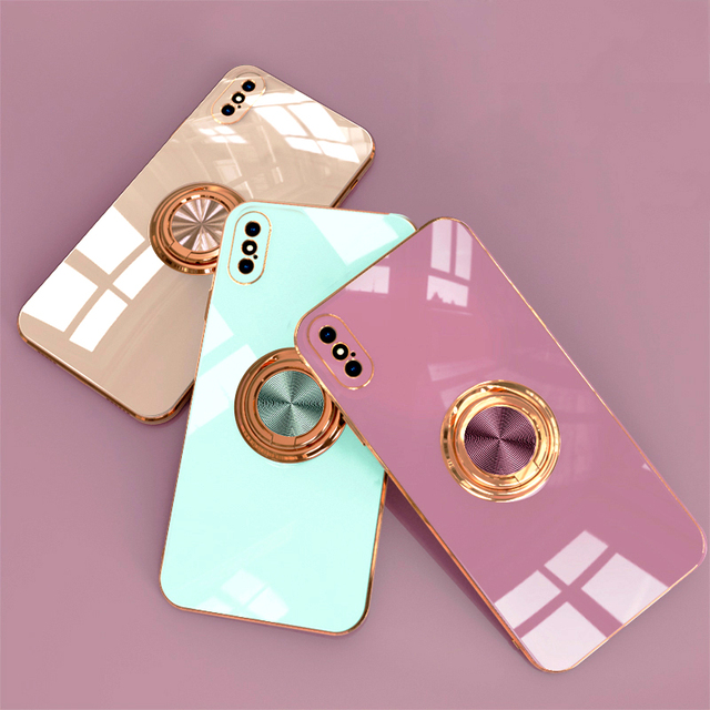 Luxury Plating Silicone Case For iPhone 12 11 Pro Max XS XR X 7 8 Plus iPhone12 iPhone11 Mini Soft Covers With Ring Holder Stand 3