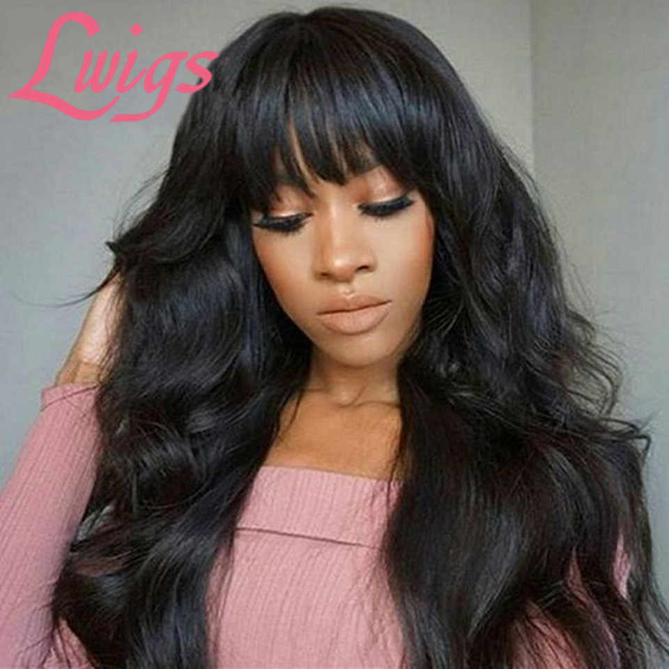 Body Wave Lace Wig With Bangs Peruvian Wet And Wavy Human Hair Lace Front Wig With Bangs 13X4 Lace Frontal Closure Wigs Lwigs