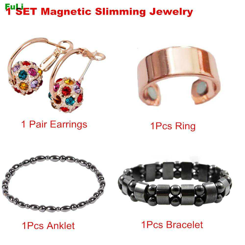 4pcs/Set Magnetic Therapy Slimming Earring Bracelet Ring Lose Weight Body Relaxation Massage Slim Ear Studs Patch Health Jewelry