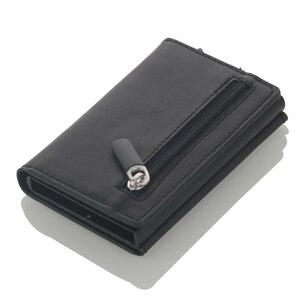 Image 4 - Cizicoco Kreditkarte Halter 2020 Neue Aluminium Box Karte Brieftasche RFID PU Leder Pop Up Karte Fall Magnet Carbon Faser geldbörse
