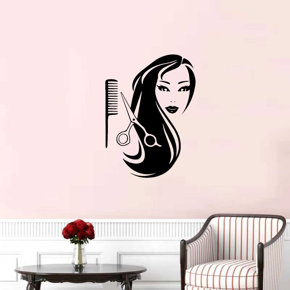 Nowy projekt do salonu fryzjerskiego naklejki do włosów naklejki ścienne winylowe do salonu Beauy tapeta fryzura naklejki ścienne naklejka ścienna
