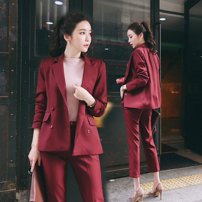 Women's Suit Set 2019 Spring And Autumn New Fashion Slim Wine Red Professional 2 Piece Set Suit Women's Pantsuit