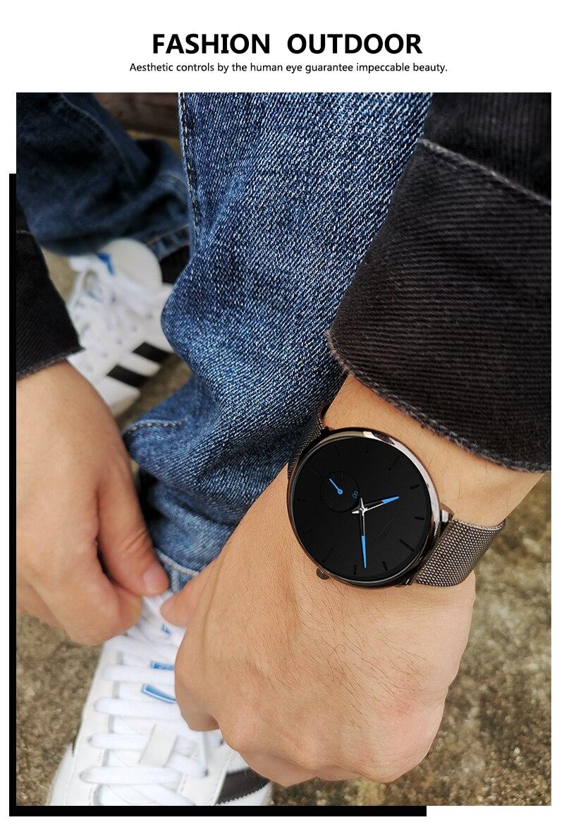 H90dd9c0224494fa89c10bb62cdbc82c3Y DONROSIN Men Casual Slim Black Mesh Steel Wrist Sport Watch Fashion Mens Watches Top Brand Luxury Quartz Watch Relogio Masculino