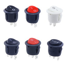 1pcs Red Black White ON/OFF Round Rocker Toggle Switch 6A/250VAC 10A 125VAC Plastic Push Button Switch 2PIN