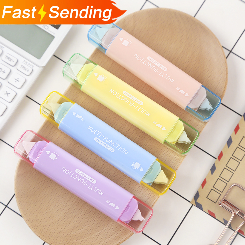 JIANWU Creative Two In One Mini Double Head Correction Tape Adhesive Tape Punctiform Adhesive Glue Learning Stationery Kawaii