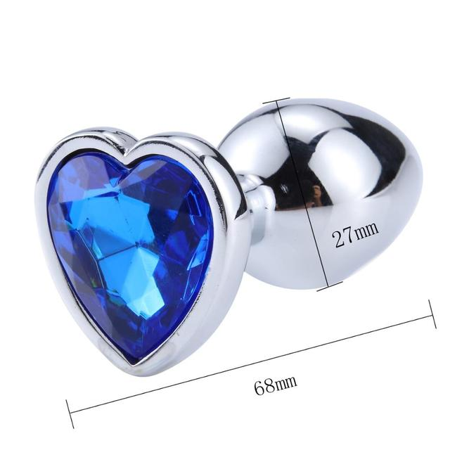 Size Plug anal diamond metal heart dark blue