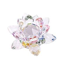 3.4 inch Rainbow Crystal Lotus Flower with Gift Box for Feng Shui Home Decor Home Decoration(China)