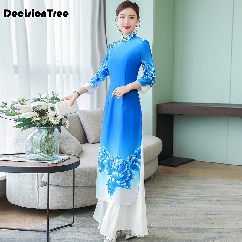 2019 Ao Dai Japanese Japanese Direct Selling Cotton Women Ao Dai Yukata High End Vietnam Aodai Cheongsam Dress