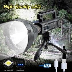 200000LM 25W XHP50 projecteur LED 4 Modes de lumière USB Rechargeable lampe de poche étanche lampe de travail d'urgence avec support