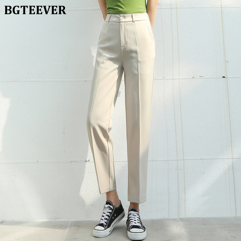 BGTEEVER Elegant Plus Size Women Suit Pants Office Ladies Loose Pants Capris Elastic Waist Female Trousers 2020 Spring Summer