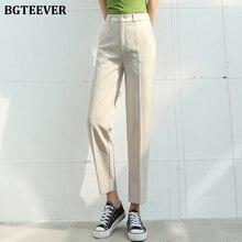 BGTEEVER Elegant Plus Size Women Suit Pants office Ladies Loose Pants
