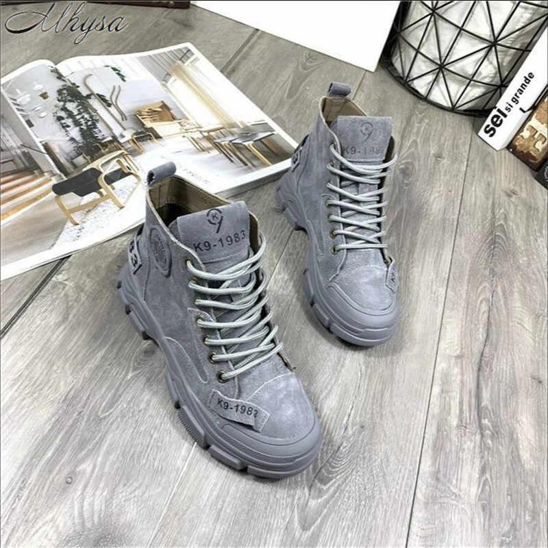 Mhysa 2019 kış yeni stil kadın şık ayakkabılar sonbahar rahat Martin deri çizmeler kalın tabanlı yarım çizmeler kadın L1173