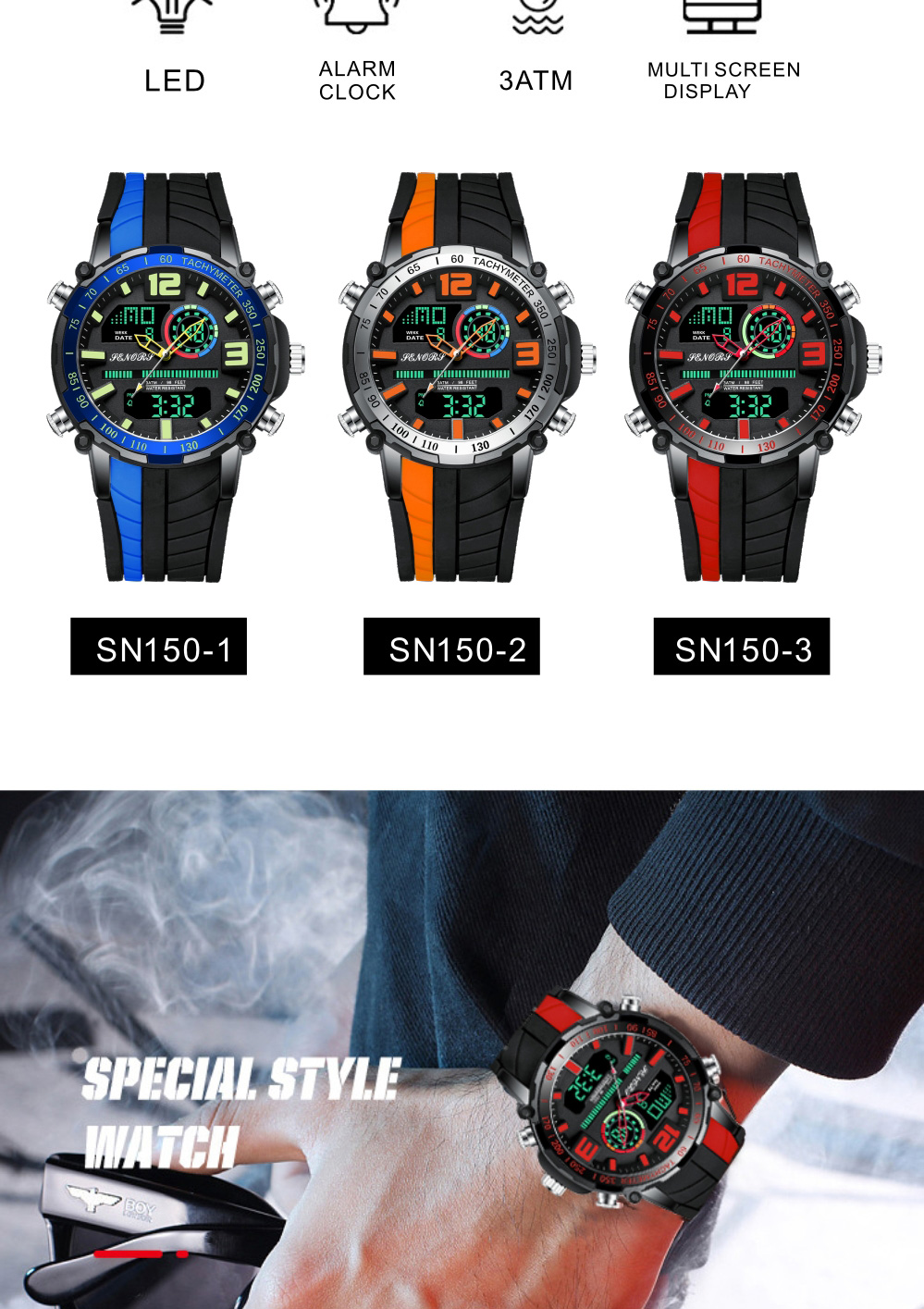 Senors Digital Watch Men Sports Watches Fashion Dual display Men's Waterproof LED Digital Watch Man Military Clock Relogio