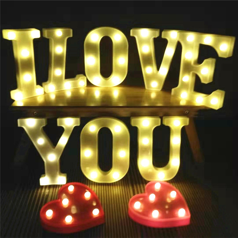 Letras LED Letter Light 3D White Plastic 26 Letter Alphabet 2 AA Battery DIY Lamp For Birthday Holiday Decoration Maison