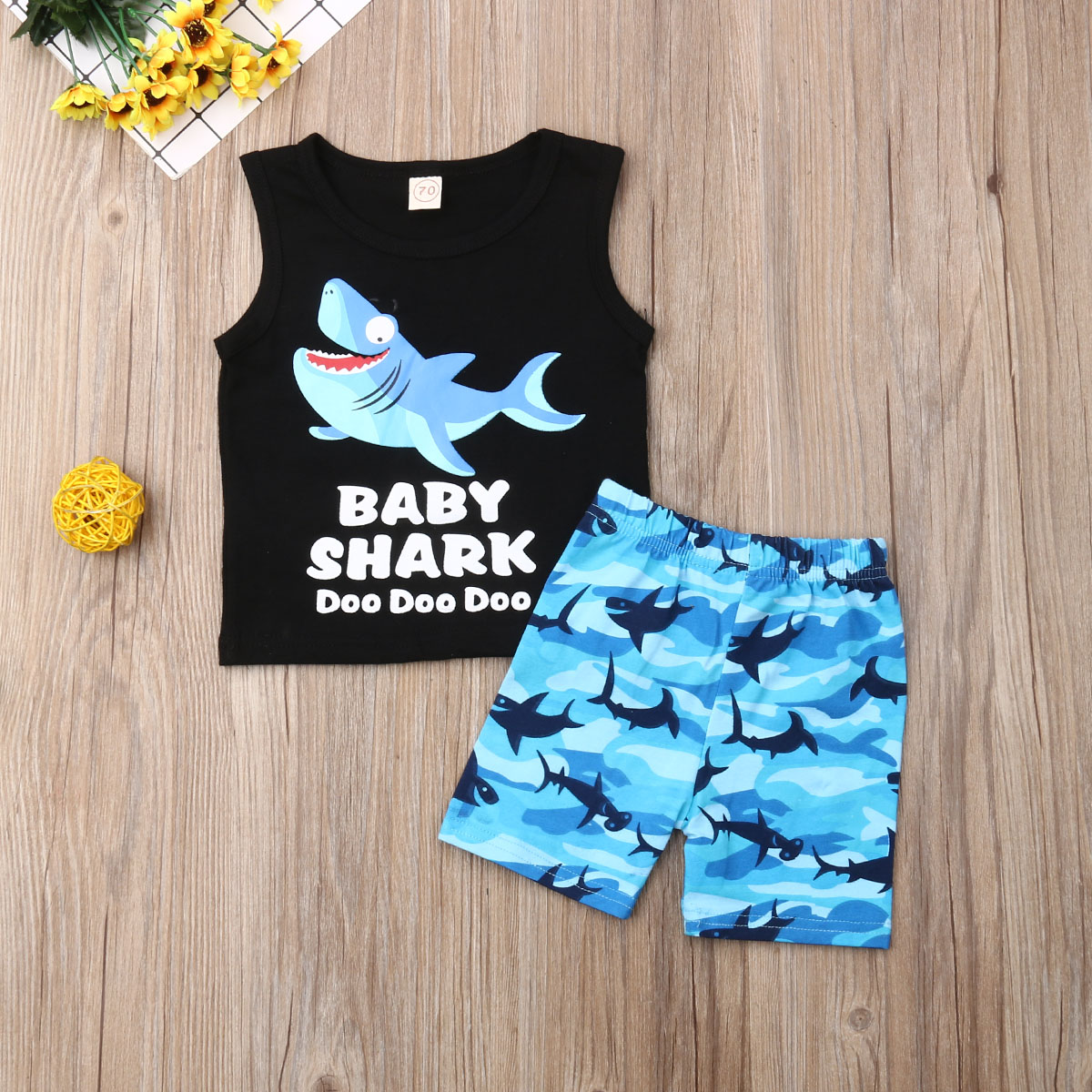 US Toddler Kids Baby Boys Clothes Shark Print T-shirt Tops Shorts Outfits Set
