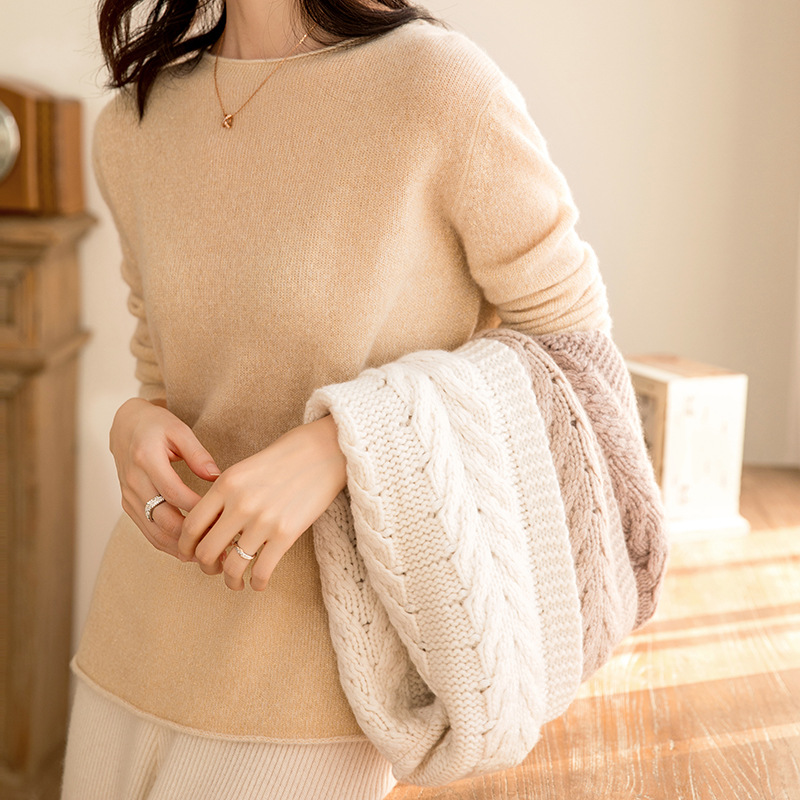Ka Sana Autumn & Winter 100% Cashmere Scarf Korean-style Warming Scarf Women's Pullover Solid Color Knitted Neck Guard Small Ban