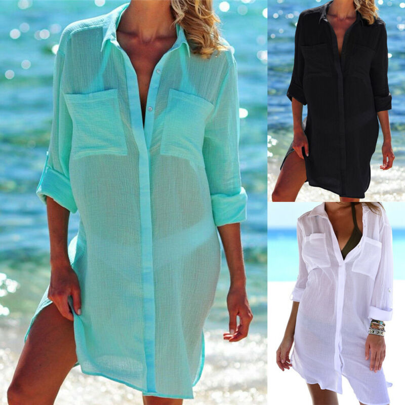 2020 Solid Women Swimwear Beach Cover Up Perspective Summer Female Beach Shirts Kaftan Beachwear Blouse Shirts Mujer