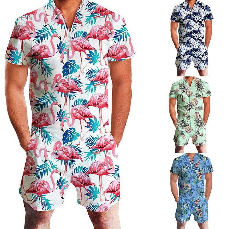 Men Fashion Print Jumpsuit Overalls Zipper One Piece Hawaiian Shorts Shirts Jumpsuit Home Clothes Mens Casual Short Sleeve Shirt