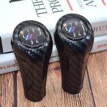 цена на Carbon fiber Gear handle For BMW E46 accessories E60 1 3 5 6 Series E36 E30 E92 E91 E90 X1 X3 X5 With M logo gear shift knob