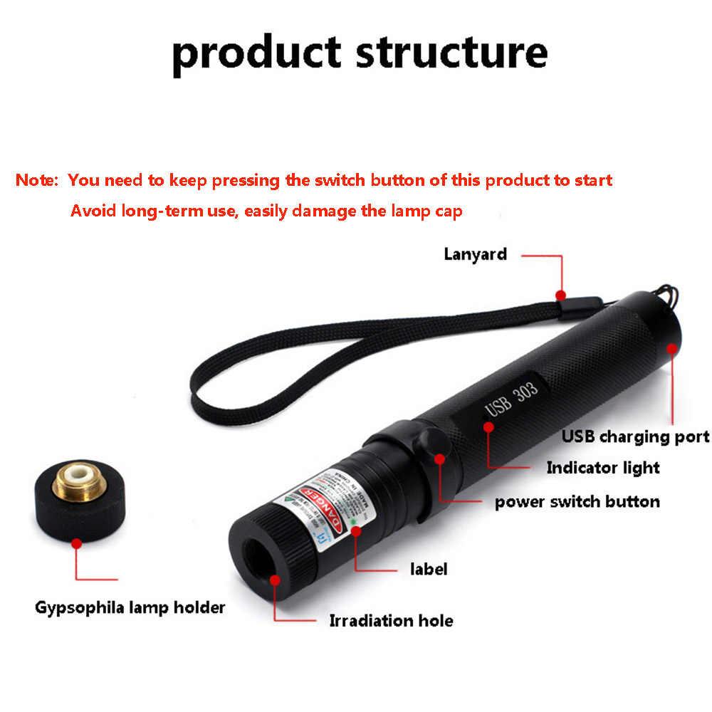 USB Xanh Bút Chỉ Laser Sạc USB 303 Cao Cấp Công Suất Thiết Bị 5 MW Đỏ Ánh  Tím Đèn Đốt Bút Chỉ Laser 8 Trong 1 Giá Đỡ Đèn|Laser
